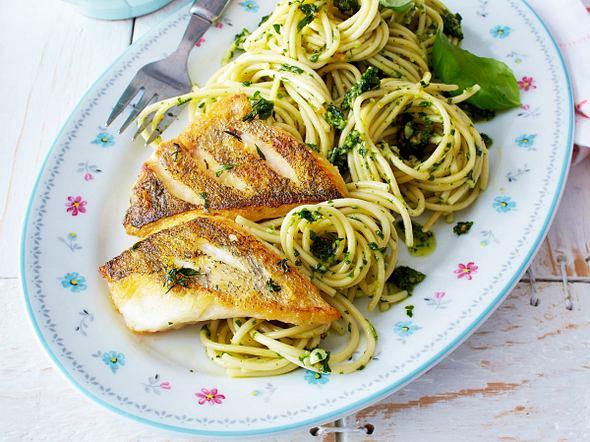 Zanderfilet mit Pesto-Spaghetti Rezept