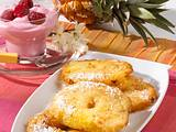 Ananas-Beignets mit Kokospanade und Himbeersahne Rezept