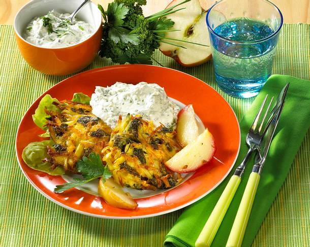 Apfel-Kartoffel-Rösti mit Kräuterquark Rezept