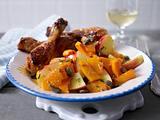 Apfel-Kürbis-Salat mit Hähnchenkeulen Rezept