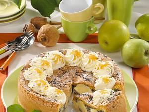 Apfel-Mohntorte mit Biskuitguss Rezept