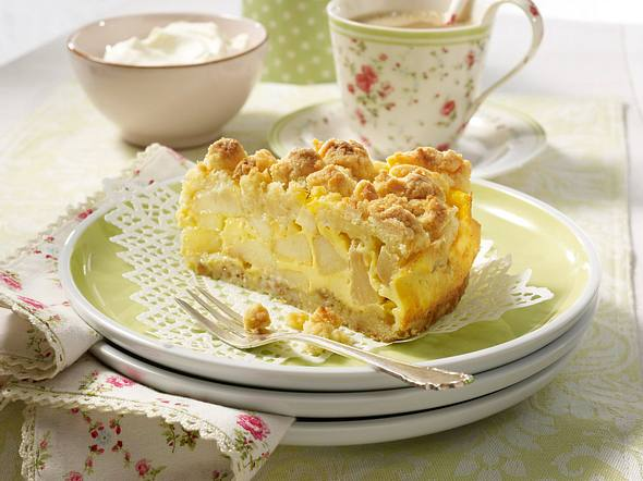 Apfel-Streuselkuchen mit Rahmguss Rezept