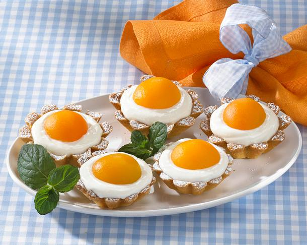 Aprikosen-Spiegelei-Törtchen Rezept