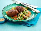 Asia-Frikadellen mit Zuckerschoten-Gemüse (kleine Frikadellen) Rezept