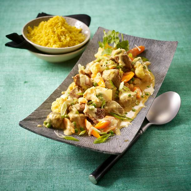 Asia-Gulasch mit Curry-Reis Rezept