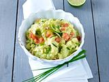 Avocado-Kartoffelpüree mit Garnelen Rezept