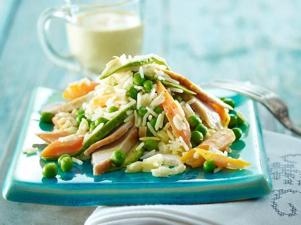 Avocado-Reis-Salat mit Putenbrust und Curry-Sahne-Dressing Rezept