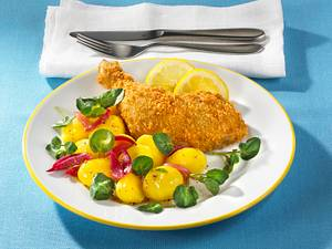 Back-Hendl mit Brunnenkresse-Kartoffelsalat Rezept