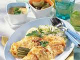 Backfisch mit Senfsoße & Lauch-Reis Rezept