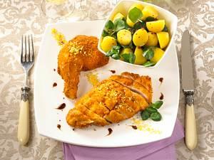 Backhendl mit Kartoffel-Brunnenkresse-Salat Rezept