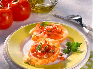 Baguette mit Schinken und Tomatenconcassée Rezept