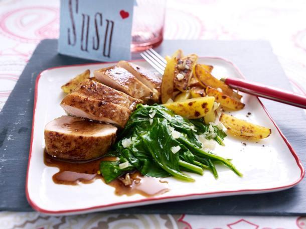 Balsamico-Hähnchenfilet mit Spinat und Röstkartoffeln Rezept