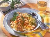 Bandnudeln mit Bohnen-Tomaten-Sugo Rezept