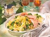 Bandnudeln mit Broccoli und Schinken Rezept