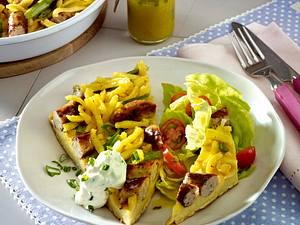 Bauernfrühstück mit Spätzle und Bratwürstchen Rezept