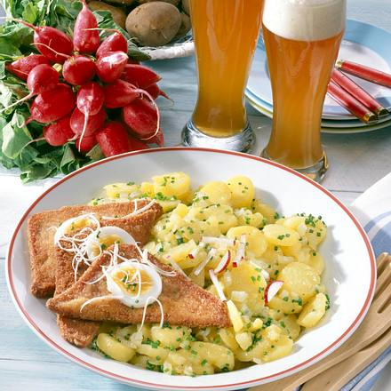 Bayerischer Kartoffel-Salat mit Fleischkäse Rezept