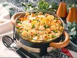 Béchamelkartoffeln mit Wurst und Gemüse Rezept