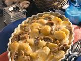 Béchamelkartoffeln mit Zuckerschoten und Roastbeef Rezept