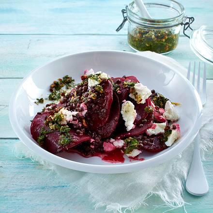 Beluga-Linsen-Salat mit Rote Bete und Dill-Pesto Rezept