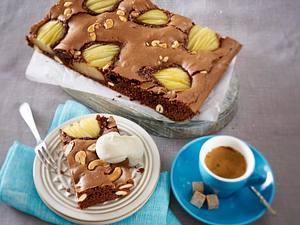 Birnen-Brownies mit Cashewkernen Rezept