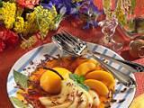 Birnen und Pfirsiche in karamellisierter Pfirsichsoße Rezept