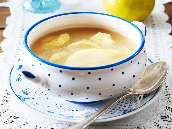 Birnensuppe mit Klacker Klieben Rezept