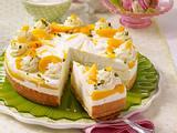 Biskuit-Flocken-Torte mit Mango-Pfirsich-Creme Rezept