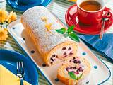 Biskuitrolle mit Zitronen- Heidelbeer-Quark Rezept