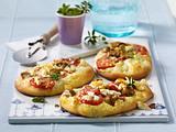Blitz-Quiche mit Salami, Champignons , Tomaten und Schafskäse Rezept