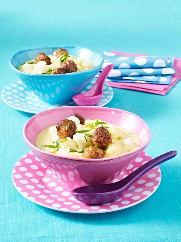 Blumenkohl-Creme-Suppe mit Fleischbällchen Rezept