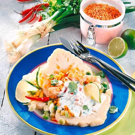 Blumenkohl mit Linsen & Joghurtsoße Rezept