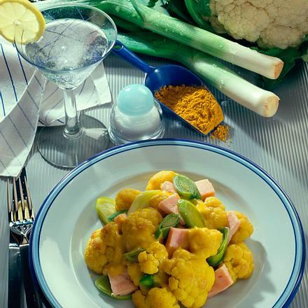 Blumenkohl-Porree-Gemüse in Curry-Soße Rezept