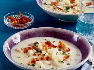 Blumenkohlsuppe mit Speck Rezept