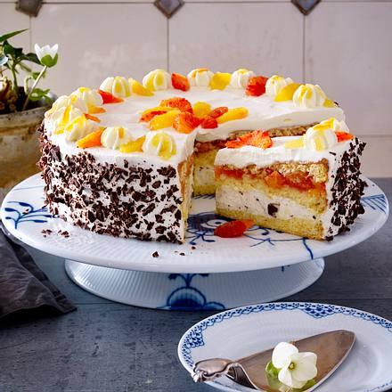 Blutorangen-Torte mit Stracciatella-Crème Rezept