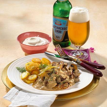 Boeuf Stroganow mit Bratkartoffeln Rezept