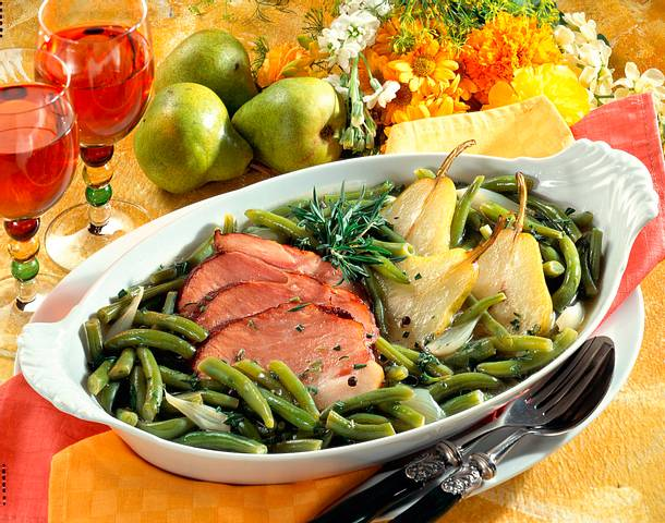Bohnen, Birnen und Speck Rezept