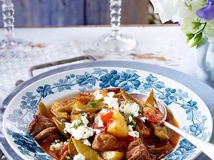 Bohnen-Kartoffel-Stifado mit Lamm Rezept