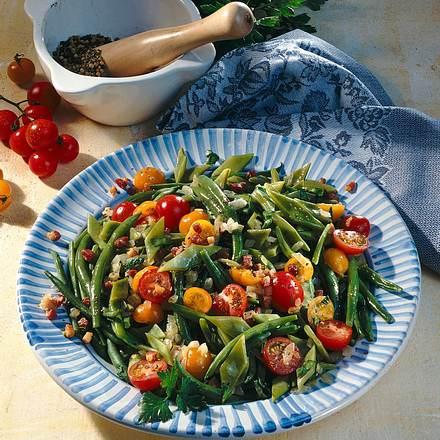bohnen salat mit speck marinade rezept lecker. Black Bedroom Furniture Sets. Home Design Ideas