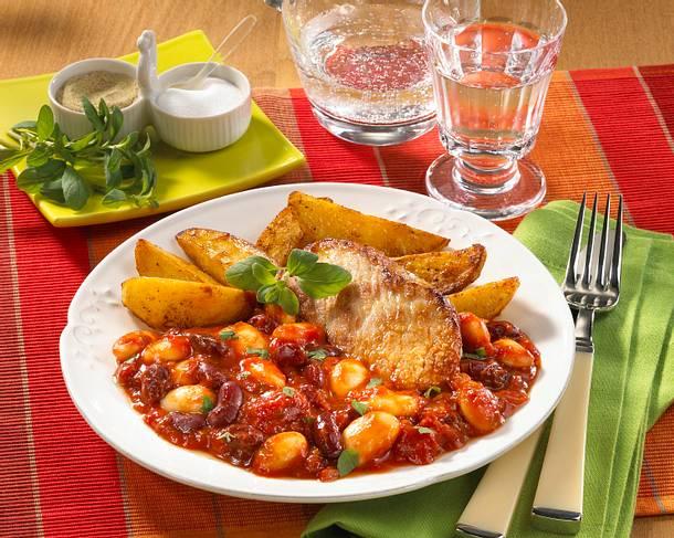 Bohnengemüse mit Schnitzel Rezept