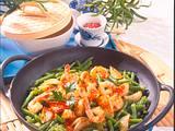 Bohnenpfanne mit Garnelen Rezept
