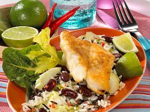 Bratfisch auf Bohnen-Reis-Salat Rezept