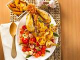 Brathuhn mit Parmaschinken und Röstkartoffeln Rezept