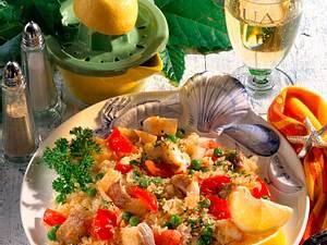 Bratreis mit Fisch-Happen Rezept