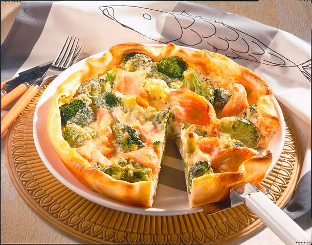 broccoli quiche mit r ucherlachs rezept lecker. Black Bedroom Furniture Sets. Home Design Ideas