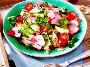 Brunnenkresse-Salat mit Steakstreifen Rezept