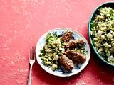 Bulgur-Pistazien-Salat mit Hackröllchen Rezept