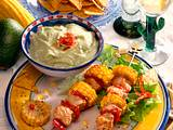 Bunte Putenspieße mit Avocado-Dip Rezept
