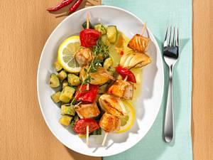 Bunte Putenspieße mit geschmorten Zucchini (Trennkost) Rezept
