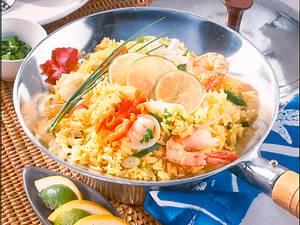 Bunte Safran-Reispfanne Rezept