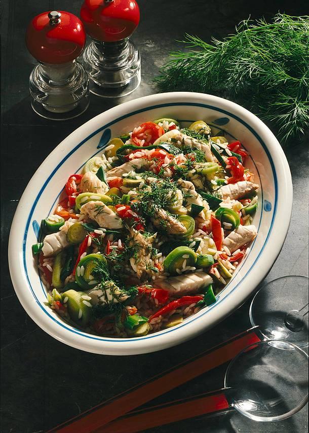 Bunter Reis-Makrelensalat Rezept